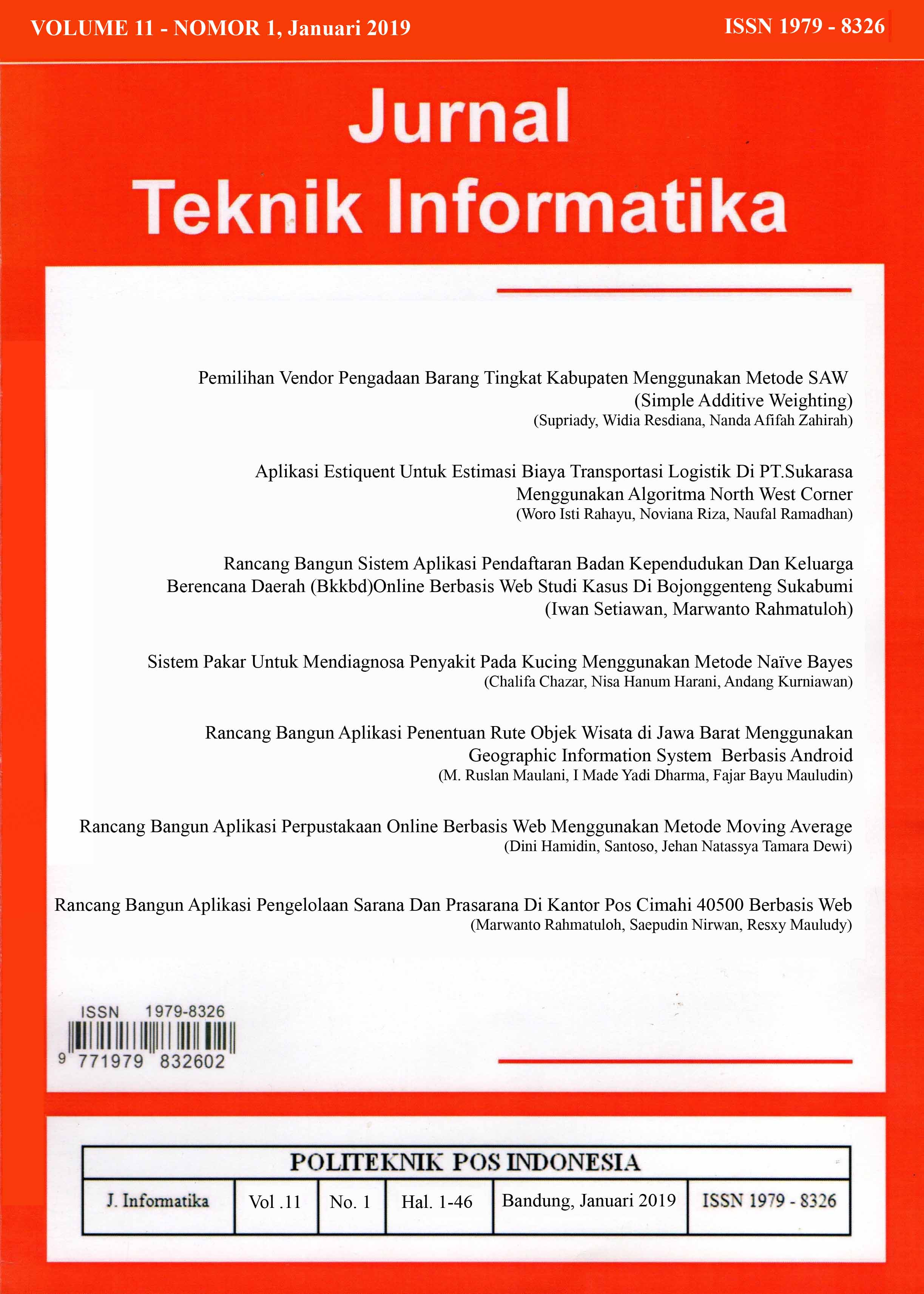 View Vol. 10 No. 1 (2018): Jurnal Teknik Informatika Volume 10 - Nomor 1, Januari 2018