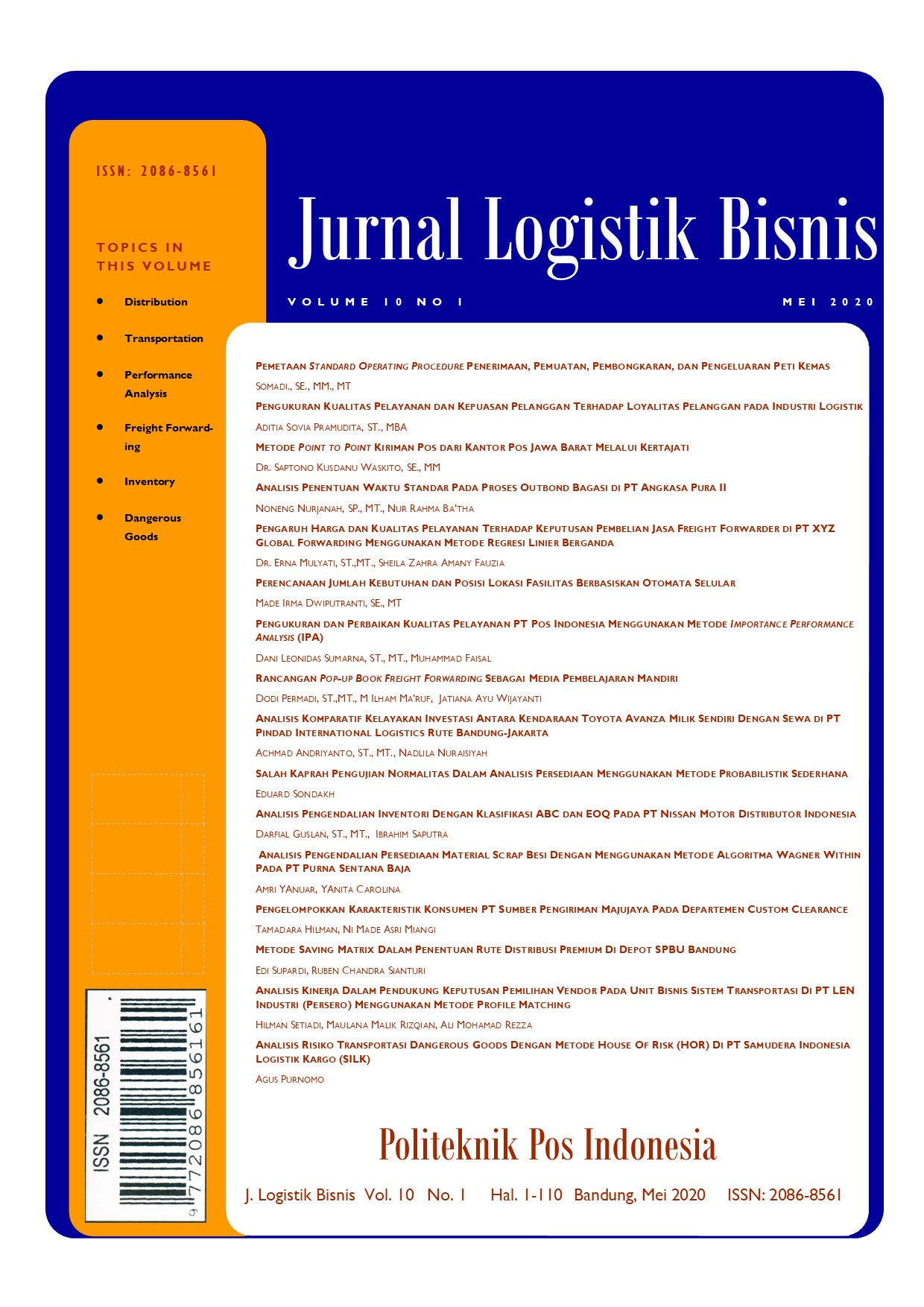 Jurnal Logistik Bisnis Volume 10 No.1 Mei 2020